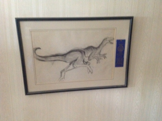 The baby boy drew this veloceraptor at the tender age of 5